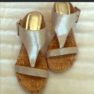 Donald J Pliner gold wedge sandals